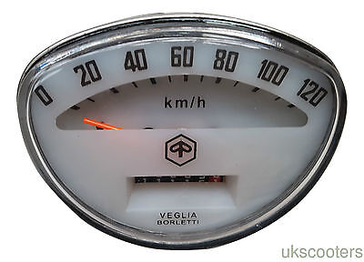 ukscooters VESPA SPEEDOMETER RALLY SPRINT PRIMAVERA 0-120KM OFF WHITE NEW