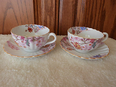 SET of 2 SPODE Copelands China CHELSEA GARDEN  CUPS & SAUCERS