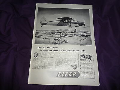 """1946 Piper Aircraft Vintage Magazine Ad """"Look to the Leader"""