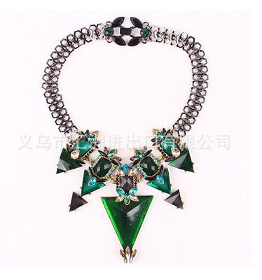 new design women bib statement green mixed crystal gorgeous mixed necklace hot