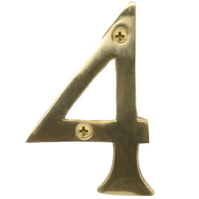 "SOLID POLISHED BRASS NUMBER+SCREWS '4' - (Four) 75mm/3"" Large House Front Door"