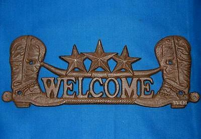 Cast Iron Country Ranch Welcome Sign Fence Barn Porch Plaque Cowboy Boots Rust