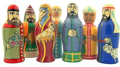 Three Kings and Holy Family 7 Piece Hand Painted Wood Figurines for Nativity Set