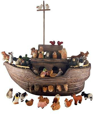 """Hand Carved 17 1/4"""" Noah's Ark with Animals Russian Style Christmas Decoration"""