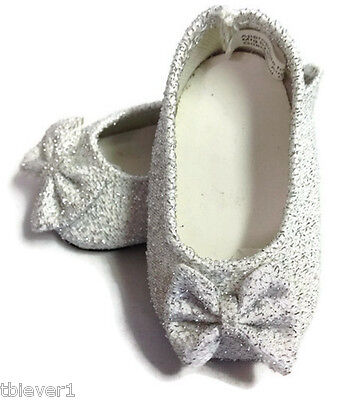 "Silver Glitter Bow Shoes made for 18"" American Girl Doll Clothes"