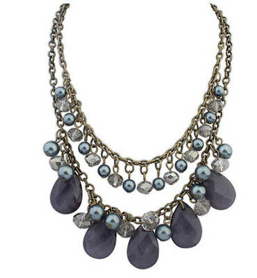 Hot New Arrival Exaggeration Tide Charm Resin Beads Retro Bib Pendant Necklace
