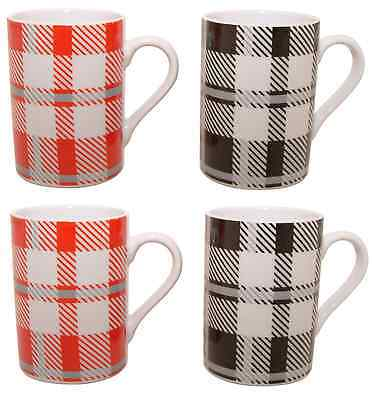 Set of 4 Black & Red Tartan Chequered Coffee Mugs Fine Porcelain Mugs Set of 4