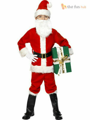 Deluxe Kids Santa Suit Costume Boys Child Father Christmas Fancy Dress Outfit