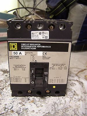 New Square D 50 Amp Circuit Breaker 240 Vac 3 Pole Fal32050