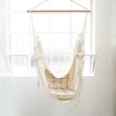 Deluxe Hanging HAMMOCK CHAIR Cream French Provincial Relax in Luxury and Comfort