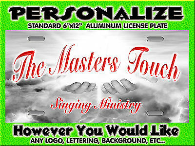 Any Logo Music Ministry Background PERSONALIZED FREE Monogrammed License Plate