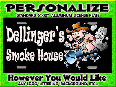 Any Logo Pig BBQ Smoking Background PERSONALIZED FREE Monogrammed License Plate