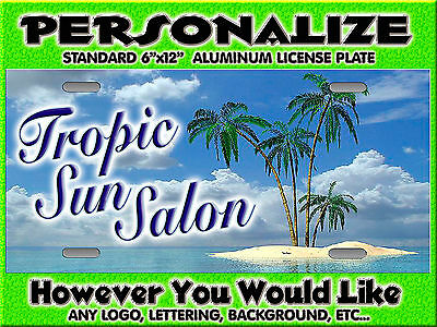 Any Logo Tanning Salon Background PERSONALIZED FREE  Monogrammed License Plate
