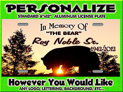 BLACK BEAR 3  smokey mountains Background PERSONALIZED Monogrammed License Plate
