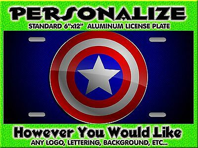 Captain America  background PERSONALIZED FREE  Monogrammed License Plate