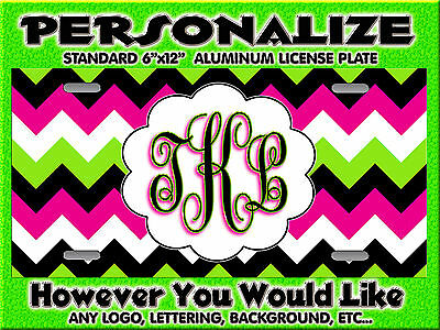 Chevron Lime Green Hot Pink  background PERSONALIZED Monogrammed License Plate