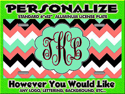 Chevron Print Coral Mint Green background PERSONALIZED Monogrammed License Plate