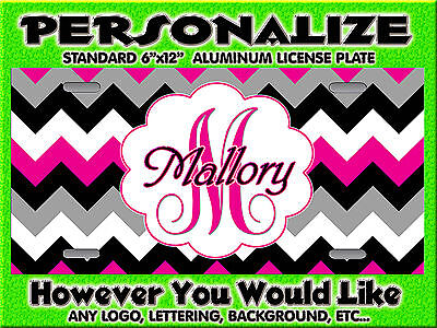 Chevron print HOT PINK  background PERSONALIZED FREE  Monogrammed License Plate
