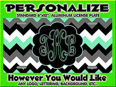 Chevron Print Mint Green background PERSONALIZED FREE Monogrammed License Plate