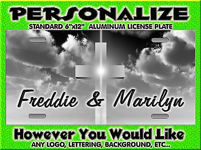 Cross Chistian grey center background PERSONALIZED Monogrammed  License Plate