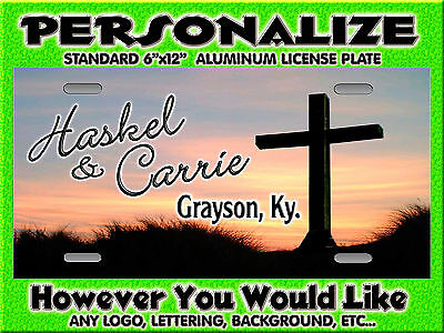 Cross Christian sunrise background PERSONALIZED FREE Monogrammed  License Plate