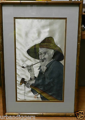 8669/ Vintage CHINESE Painting on SILK ~ Signed ~ Framed Art from Estate