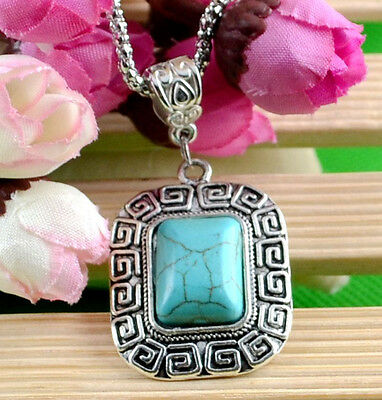 New Classical Natural hot Turquoise cute tibet silver Necklace+Pendant H-70