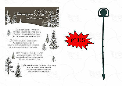 Memorial Christmas Card 'Missing You Dad' Grave Cemetery Card With Free Holder