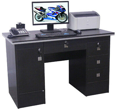 Computer Desk PC Table For Home Office Furniture workstation in Black with locks