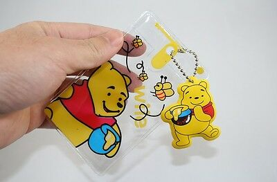 2x Winnie the Pooh Transparent ID Credit Card Holder,Business Card Holders Pouch