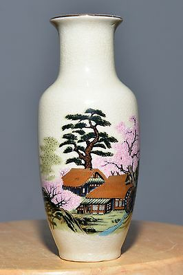 Antique Japan Pottery Hand Painted Vase Ceramic Asain Gold Beautiful