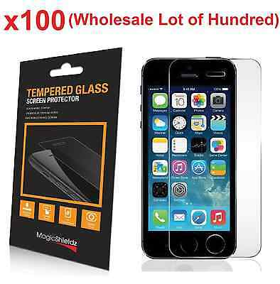 100x Wholesale Lot Tempered Glass Screen Protector for iPhone 5 5c 5S Retail Box