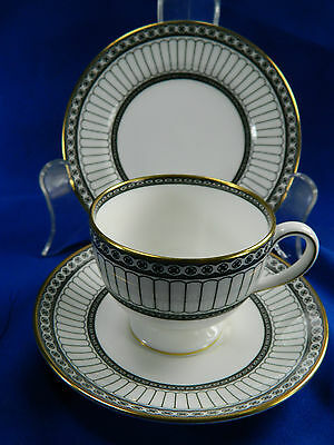 Pair of Stunning Wedgewood Black Colonnade teacups with saucer and cookie plate