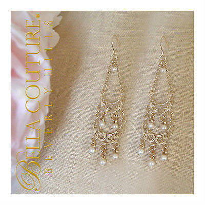 $495 NEW VICTORIAN ANTIQUE WHITE SEED PEARL 14K GOLD DANGLE CHANDELIER EARRINGS