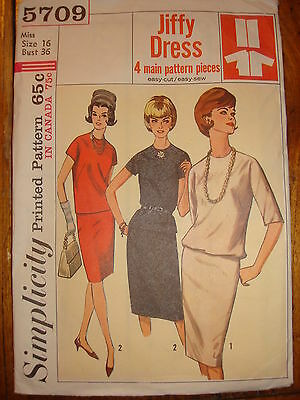 1964 SIMPLICITY PATTERN #5709  Misses' 2-Pc Jiffy Dress Sz 16, Bust 36