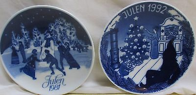 "LOT OF 2 PORSGRUNDS  XMAS COLLECTOR PLATES ""JULEN"" 1981 & 1992, 7"" DIA. NORWAY"