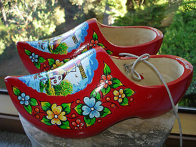 Holland Hand Painted Wood Decorative Clogs Red Flowers/Windmills