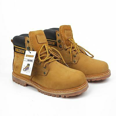 KINGSHOW Men Water Resistant Style & Work Leather Boots