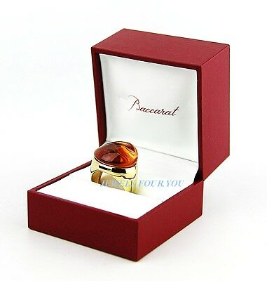 BACCARAT GALEA LARGE VERMEIL SILVER WITH HONEY FLCRYSTAL RING SZ 55 7 US FRANCE