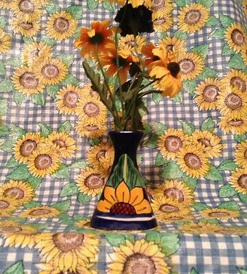 Vintage Mexican Sunflower Vase Signed L. Free. H. Mex.