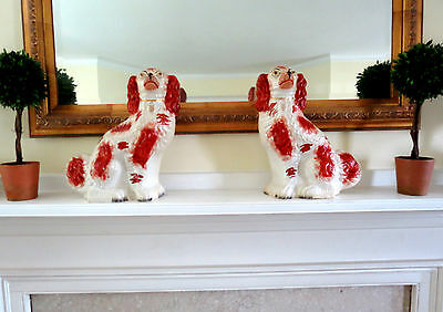 PAIR of ANTIQUE STAFFORDSHIRE SPANIELS DOGS 19th CENTURY MARKED