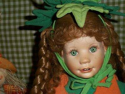 "1993 Lil' Punkin Porcelain Collector Doll Laura Cobabe Halloween 15"" Tall"
