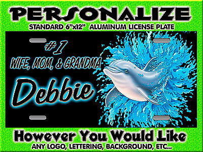 Dolphin jumping Marine background PERSONALIZED FREE Monogrammed License Plate