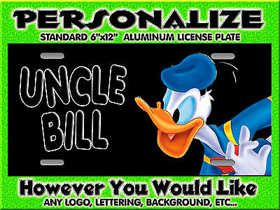 Donald Duck cartoon background PERSONALIZED FREE Monogrammed License Plate