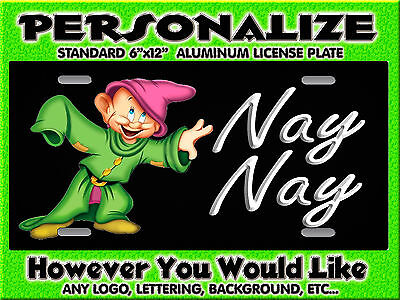 Dopey cartoon Background PERSONALIZED FREE Monogrammed License Plate