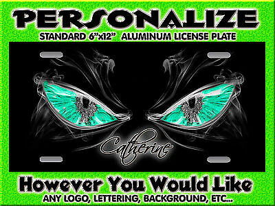 EYES Green auto car tag Background PERSONALIZED Monogrammed License Plate