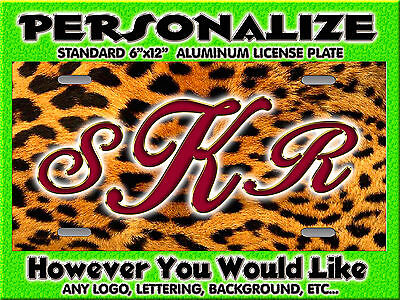 Leopard CHEETAH Dark red Print background PERSONALIZED Monogrammed License Plate