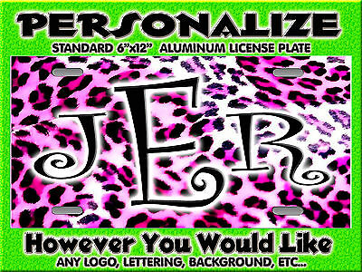 Leopard CHEETAH Pink Print   background PERSONALIZED Monogrammed License Plate