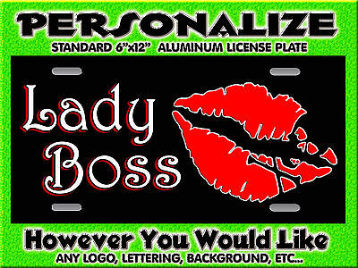 Lips Skull any Color RED  background PERSONALIZED FREE Monogrammed License Plate