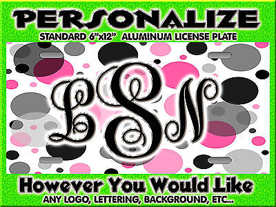 Polka Dot Hot Pink Black background PERSONALIZED FREE Monogrammed License Plate